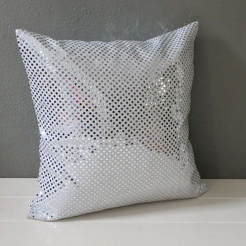 Silver Christmas Pillow: Glam Silver Sequin Throw Pillow, Modern Holiday Decor, Silver Polka Dot Pillow, Modern Metallic Accent Pillow