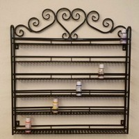 New PANA 2014 High Quality Nail Polish Wall Rack (Fit Up To 108 Bottles of Nail Polish) (Metal Frame with Heart Design Sign on Top, Unbreakable) (BLACK)