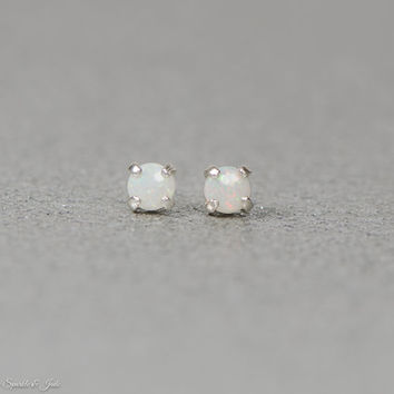 4mm Sterling Silver Genuine Australian White Opal Small Stud Earrings