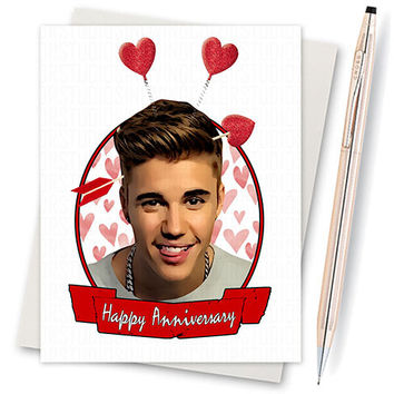Justin Bieber Card - Anniversary Card - Girlfriend Card - Card For Him - Card For Girlfriend - Funny Love Card - Card For Boyfriend - Lover