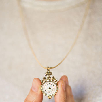 Floral design watch necklace Seagull, gold plated watch pendant, small watch necklace ornamented, romantic watch pendant, girlfriend's gift