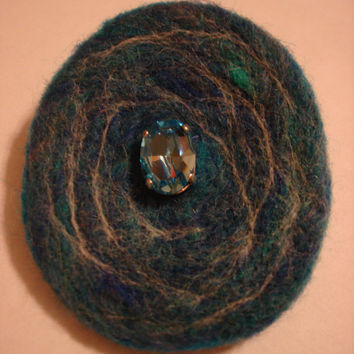 Needle Felted Wool Brooch Pin with Vintage Sew On Crystal Blue