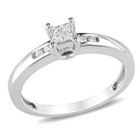 1/8 CT. T.W. Princess-Cut Quad Diamond Promise Ring in Sterling Silver - View All Rings - Zales