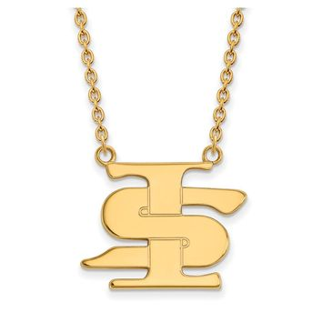 NCAA 10k Yellow Gold Indiana State Large Pendant Necklace