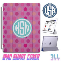 Polka Dot Monogram IPad Air Smart Cover , IPad Mini Smart Cover , IPad 4 Smart Cover IPad 3 2 IPhone Cover 5 5S 5C 4S Samsung Case Gift #344