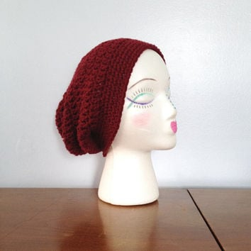 Burgundy Slouchy Beanie - Crochet Women's Beanie - Red Hipster Beanie - Winter Hat - Dread Tam - Teen Girls Slouch Hat - Marsala Pantone