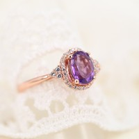 Magic Pieces Rose Golden Plated Sterling Silver Ring with Oval Amethyst and CZ
