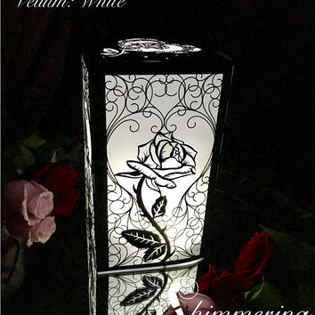 Beauty and the beast inspired rose large lantern luminary wedding centerpiece garden party decor