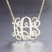 Custom Monogram Necklace - Fine Jewelry - Luxury Fashion - Personalized Name Necklace -  Bridesmaid Gifts - Sterling Silver