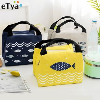 eTya Female Lunch Food Box Bag Fashion Insulated Thermal Food Picnic Lunch Bags for Women kids Men Cooler Tote Bag Case