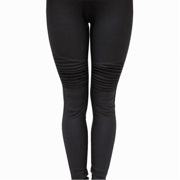 Solid Black Moto Leggings