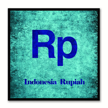 Indonesia Rupiah Money Currency Aqua Canvas Print with Black Picture Frame Home Decor Wall Art Collection Gifts