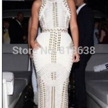 2017 summer women Sexy Bodycon black white sleeveless studded beaded long maxi rayon Bandage Dress Celebrity kim kardashian
