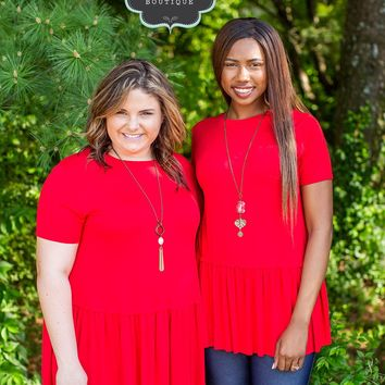 Ruby Red Peplum Top