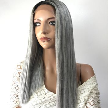 Grey Ombre' human hair blend multi parting straight lace front wig - volatile