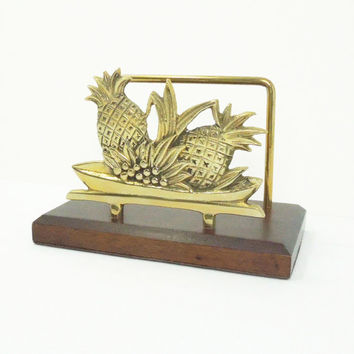 Vintage brass letter holder - Solid brass and wood letter holder - Pineapple letter holder - Brass pineapple letter caddy