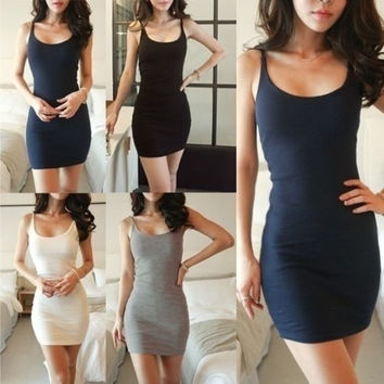 Women Fashion Solid Slim Spaghetti Strap Bottoming Dress Bodycon Elastic Cotton Skirt White Grey Navy Blue Black = 1930357316