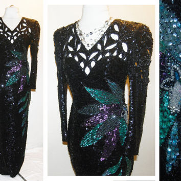 Vintage 80s Long Black Sequin Fitted Trophy Evening Formal Gown Dress 20s Art Deco Style Glamour S small