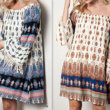 Eliza Bella Boho Flirty Fringed Off/On Shoulder Printed Dress/Blouse SML, XL