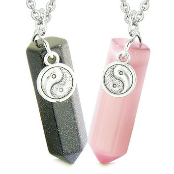 Yin Yang Amulets Love Couples Best Friends Crystal Points Goldstone Pink Simulated Cats Eye Necklaces