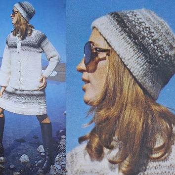 70s suit sweater blazer skirt hat Vintage pattern PDF Instant Download knitted crochet 70s knitted supplies epsteam knitting pattern dress