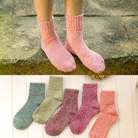 Hot Sale! Women's Socks Fashion Candy Color Winter Wool Cute Socks Meia Female Warm Socks