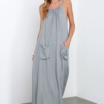Dream Up Grey Backless Maxi Dress