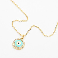 Evil Eye Enamel & Rhinestone Pendant Necklace - Mint