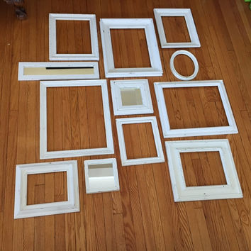 Wall Gallery of open frames with mirrors, white distressed, set of 12