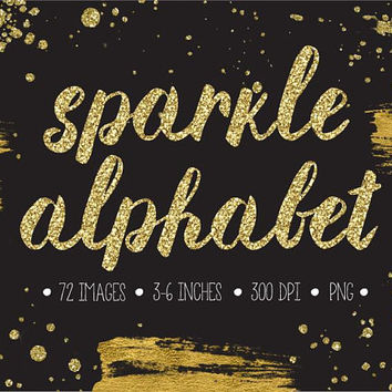 Glitter Alphabet Clipart. Gold Glitter Letters, Numbers, Symbols. Hand Written Gold Font for Wedding. Metallic Brush Script - 300dpi - PNG -