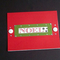 NOEL Christmas Cards - Set of 3 - Green & Red Christmas Note Cards - Envelopes included