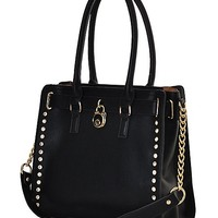 Classic Gold Studded Structured Satchel Purse Style Tote Handbag