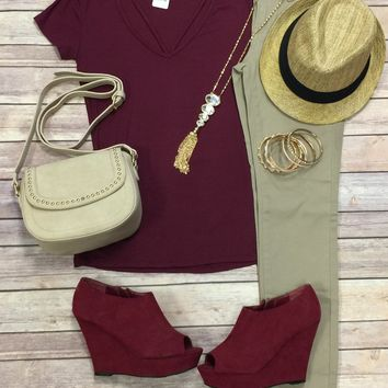 Goes With Everything V-Neck Top: Burgundy