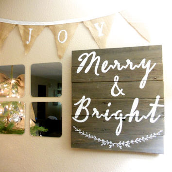 "Joyful Island Creations ""Merry & Bright"" Rustic Christmas Sign Made of Repurposed Wood"