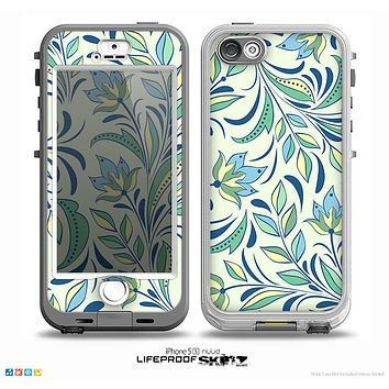 The Sutble Green Floral Vector Pattern Skin for the iPhone 5-5s NUUD LifeProof Case for the LifeProof Skin