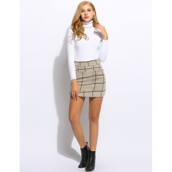 Sexy Women High Waisted Plaid Pocket Wool Blend Pakage Hip Mini Skirt
