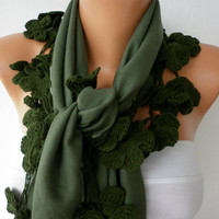 Women Pashmina  Scarf  - Cotton Scarf -  - Cowl with Lace  Edge - Green