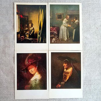 Dresden picture gallery 12 postcards Saved masterpieces Military history Blank card Soviet vintage postcard USSR postkort Retro gift idea
