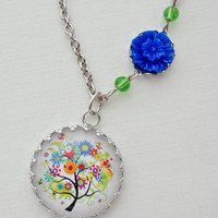 Colorful Tree Necklace in Silver. Summer. Flowers. Multi-color. Rainbow. Gift for her under 25 usd