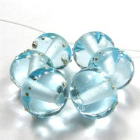 Glossy Pale Aqua Blue Glass Handmade Lampwork Bead Silver 038gfs Glossy Pale Aqua Blue Lampwork Beads Fine Silver Shiny Glass - Aqua Blue Handmade Lampwork Beads Wrapped In Fine Silver by Covergirlbeads Texas Glass Artist, Charlotte Hayes [] - $3.20 : Cove