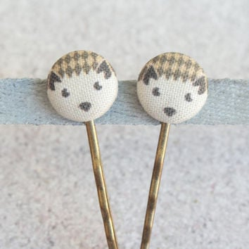 Hedgehog Fabric Covered Button Bobby Pin Pair