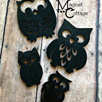 Magnet owls, decorative owls, handmade, forest, black, turquoise, summer, fridge magnet, refrigerator, locker,