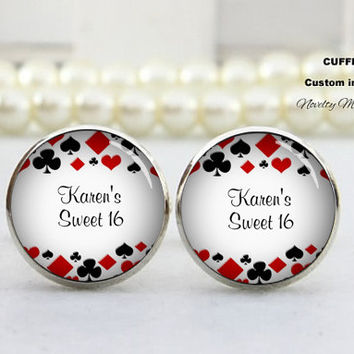 Play Card Cufflinks-Father of the Groom, Wedding Date, Custom TEXT,Photo, Best Gifts For Father, with Free Gift Box