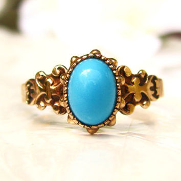 Antique Engagement Ring Cabochon Turquoise Ring 10K Rose Gold Victorian Wedding Ring Alternative Engagement Ring Promise Ring Size 8.5