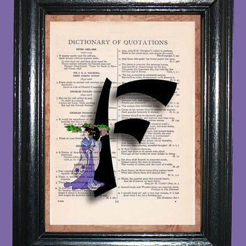 Oriental Letter F with Pale Purle Oriental Lady with Bonsai Tree - Vintage Dictionary Page Book Art Upcycled Page Art Collage Art Print