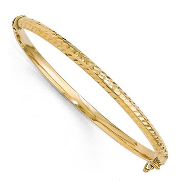 4mm 10k Yellow Gold Diamond Cut Hinged Half Round Bangle Bracelet
