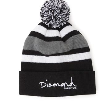 Diamond Supply Co OG Script Pom Beanie - Mens Hats - Black - One