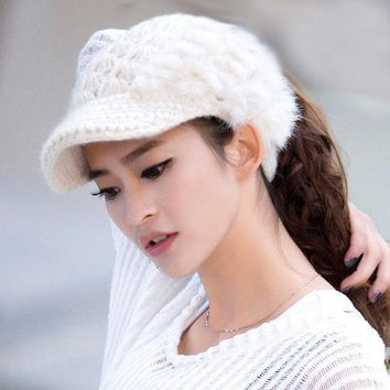 Womens Knitting Wool Beanie Hat Top Hollow Off For Ponytail Hair Casual Warm High Quality With Rabbit Fur