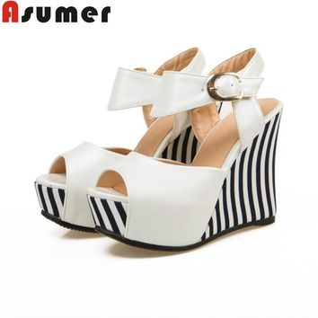 asumer plus size 34 43 new fashion wedges women pumps peep toe party wedding shoes hig  number 1