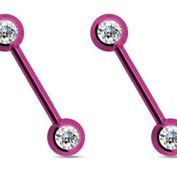 "(2pcs) Double CZ Nipple Bar 14g & 9/16"" Length (Purple)"